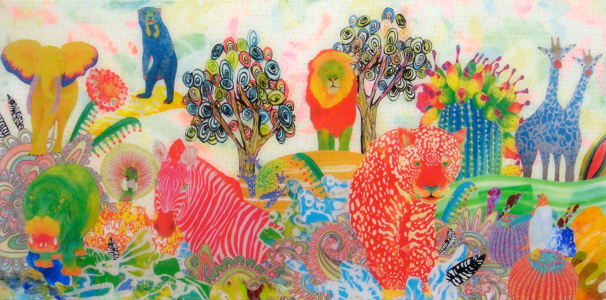 Animal-wonderland-20改行 Acrylic glitter paper and ink on canvas, 300×600mm, 2011