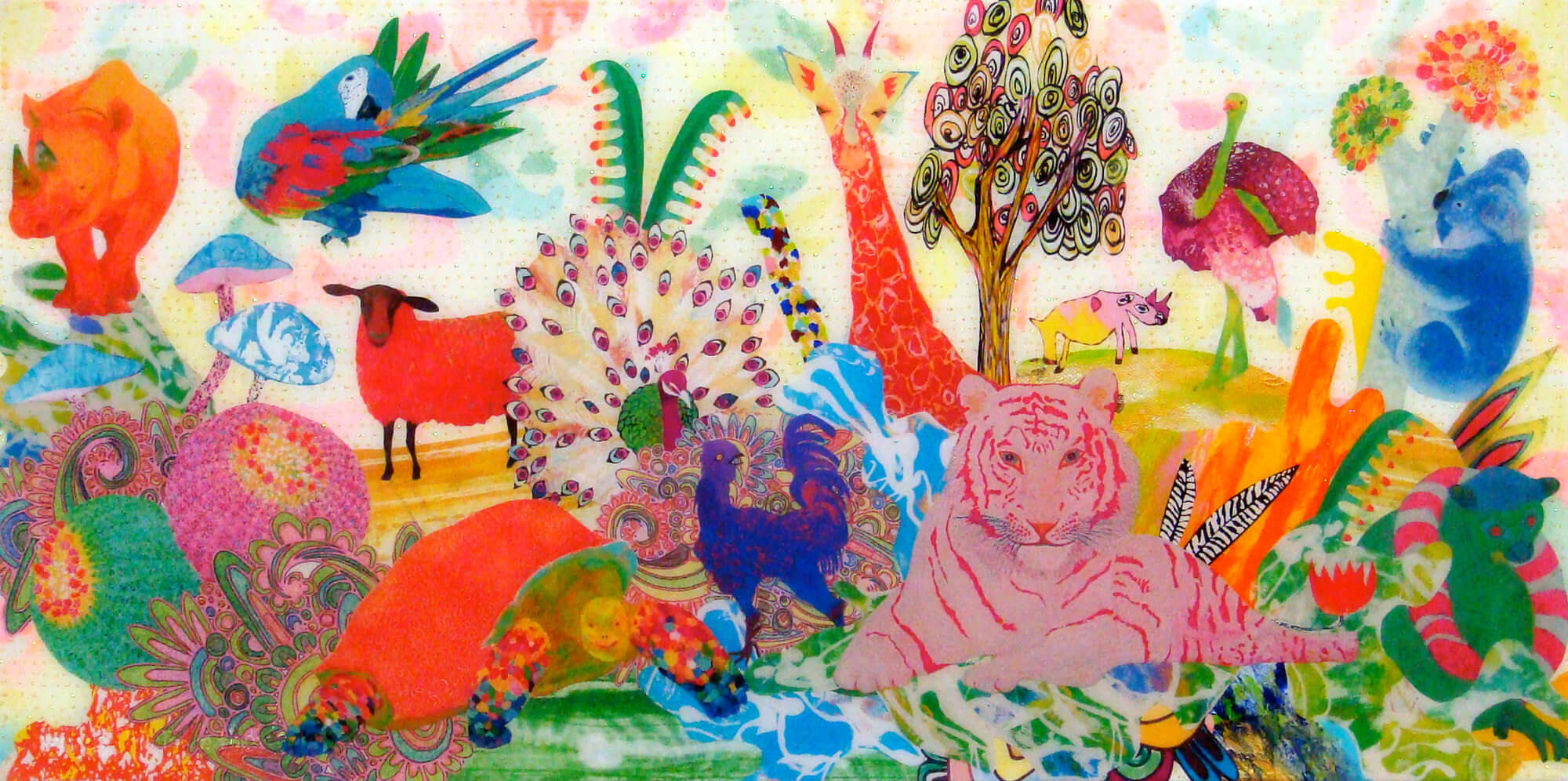 Animal wonderland 21改行 Acrylic glitter paper and ink on canvas, 300×600mm, 2011