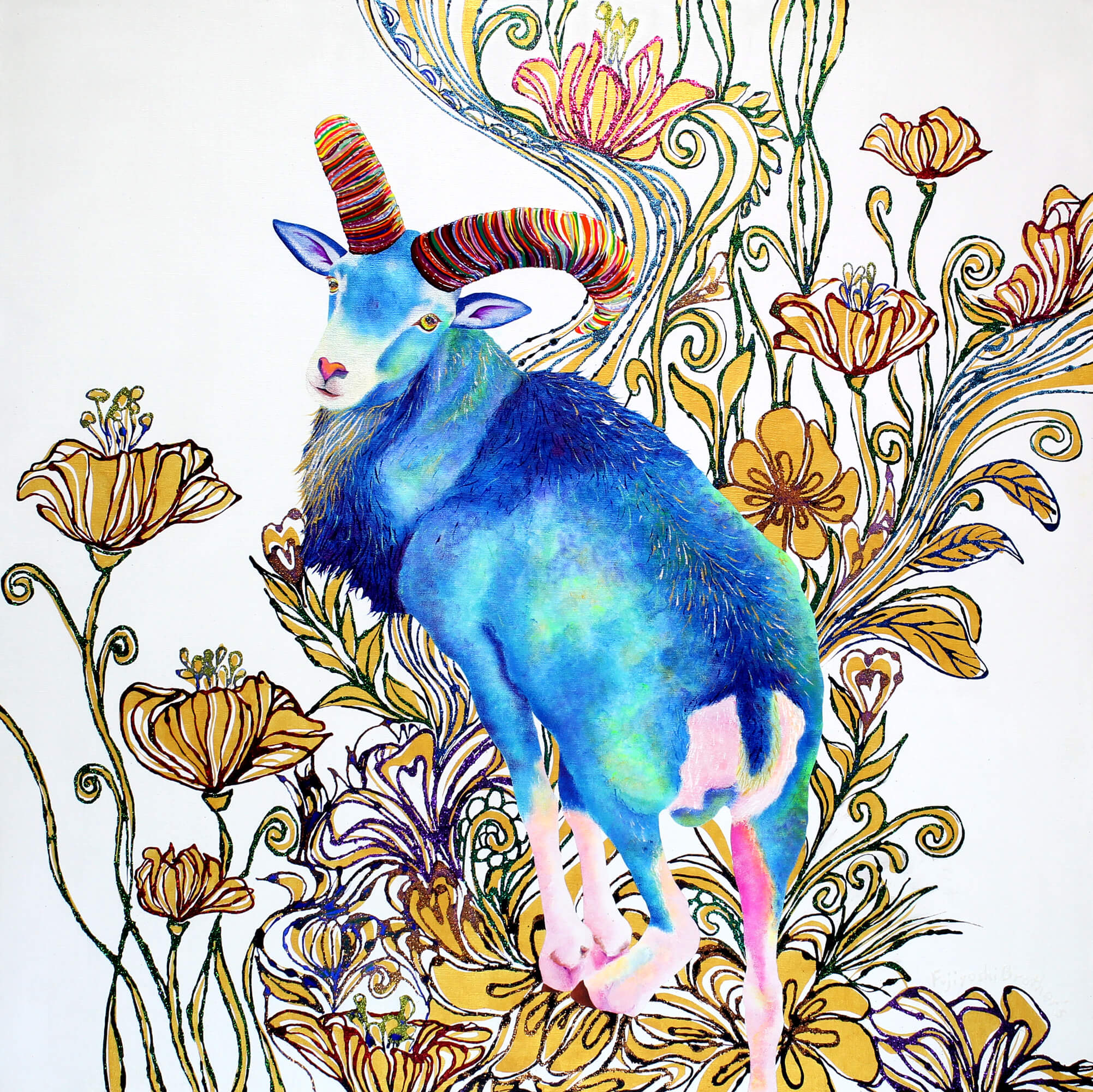 Blue-Mouflon-&-Gold-Flowers改行 Acrylic glitter and ink on canvas, 910×910mm, 2015