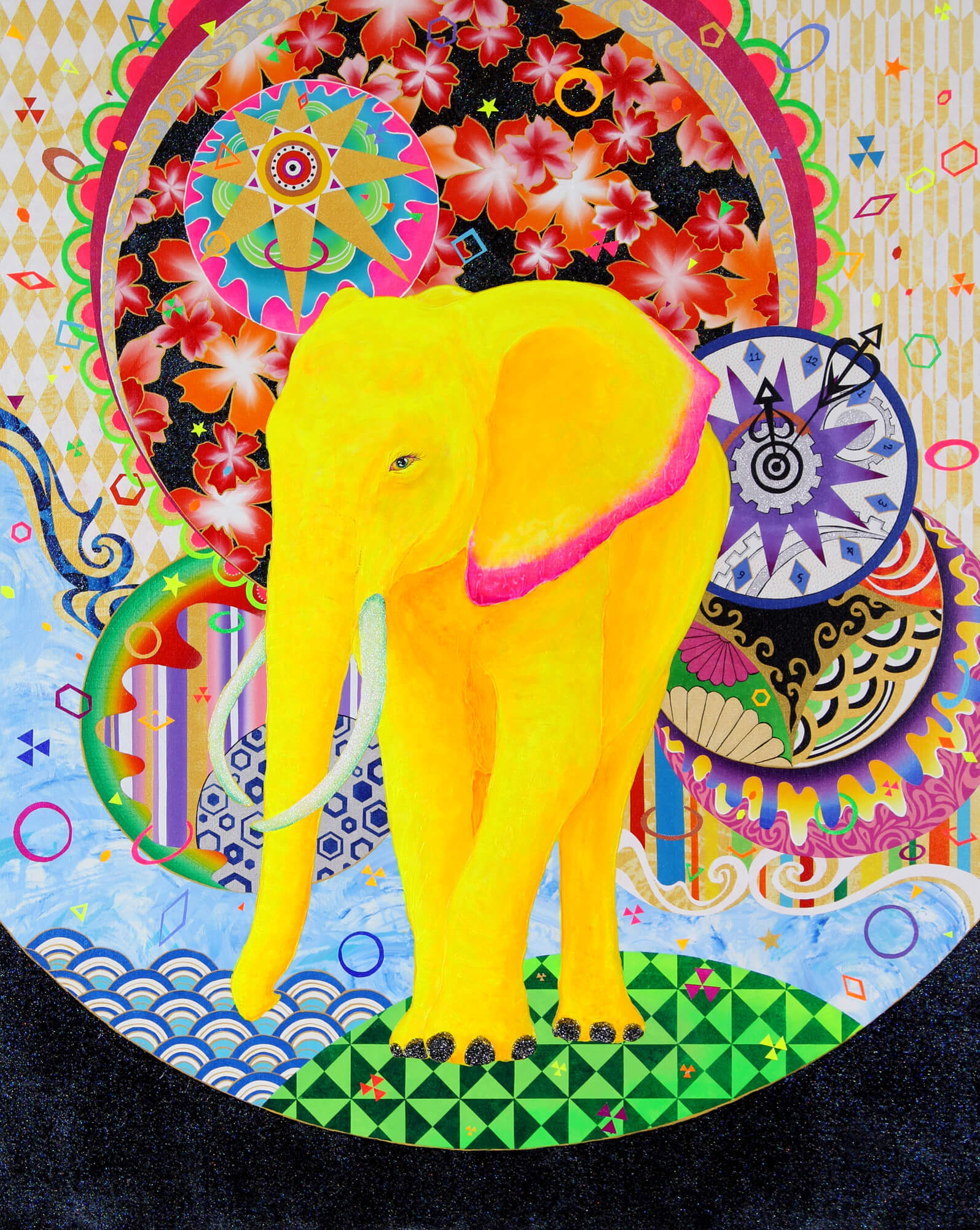 Fantastic World - Yellow Elephant改行 Acrylic,and glitter on canvas,910×727mm, 2017