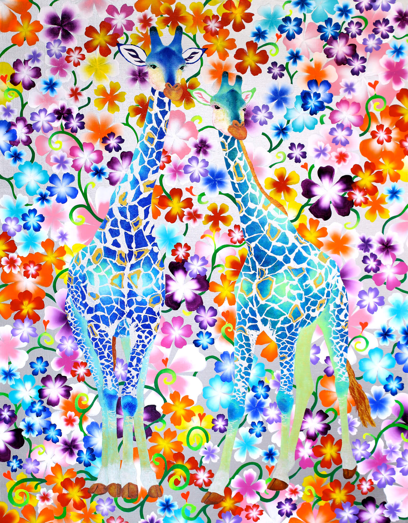 Floral Blue Giraffese改行 Acrylic and glitter on canvas, 1167×910mm, 2013