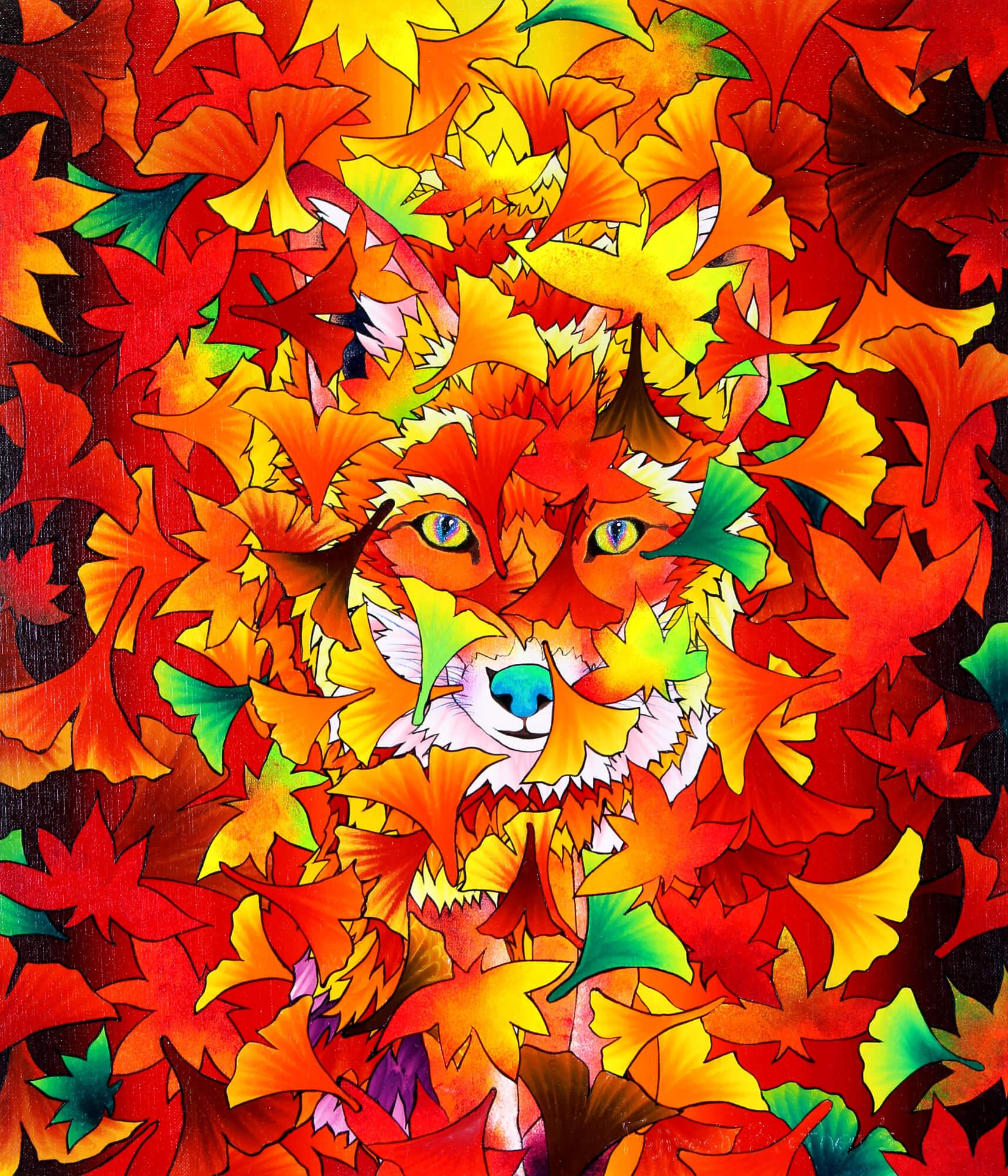 Ginsyu Fox - falling leaves改行 Acrylic,and glitter on canvas, 530×455mm, 2018