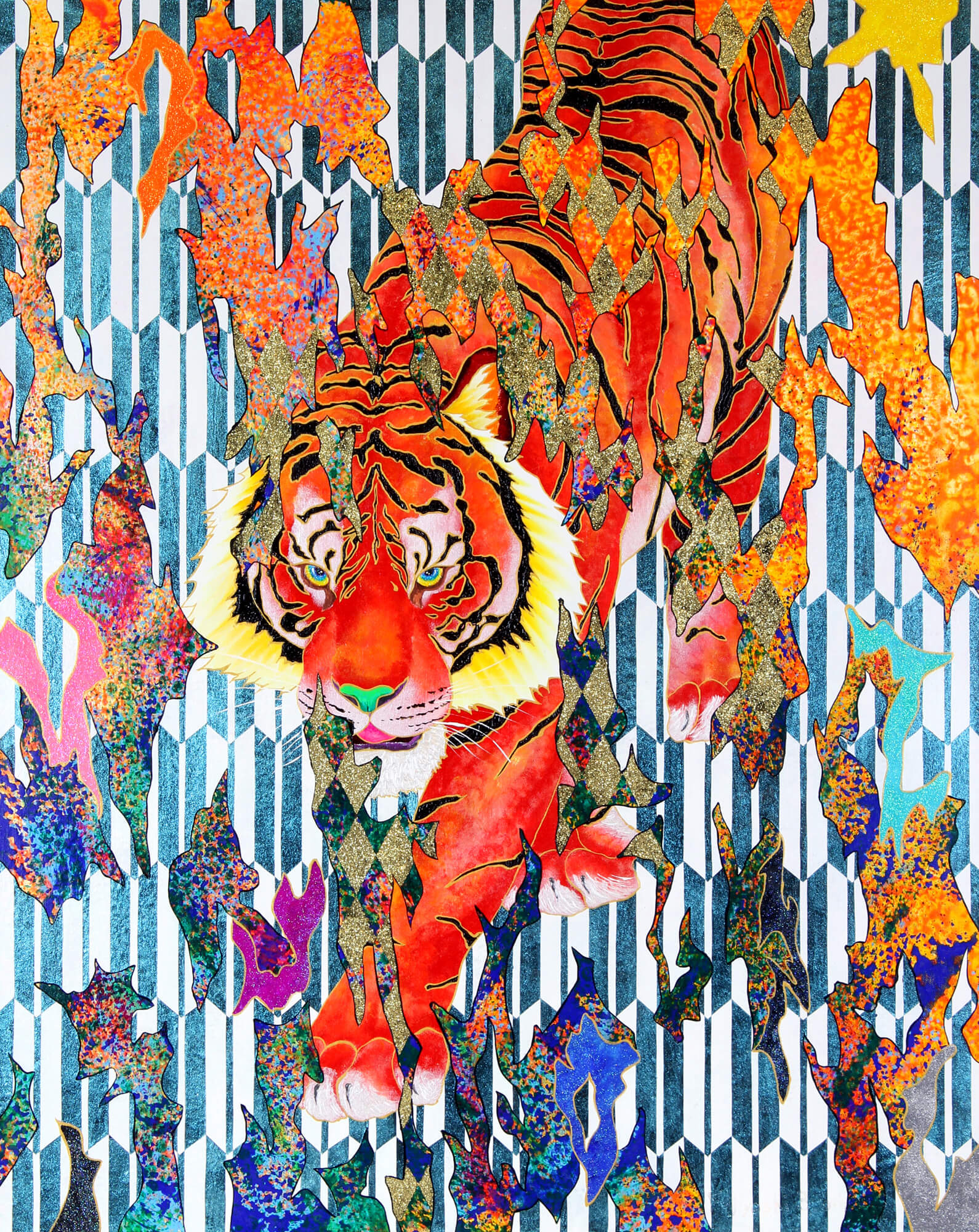 See-through:Scarlet Tiger改行 Acrylic and glitter on canvas, 910×727mm, 2019