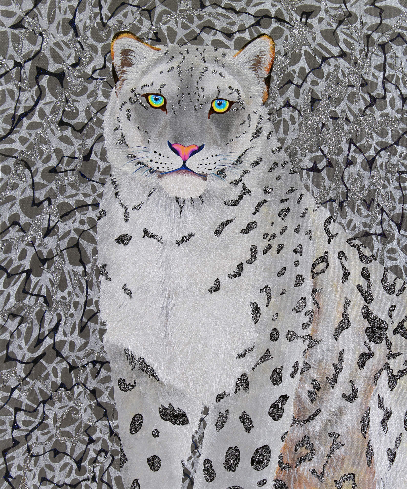 Silver Snowleopard改行 Acrylic and glitter on canvas,455×380mm, 2016