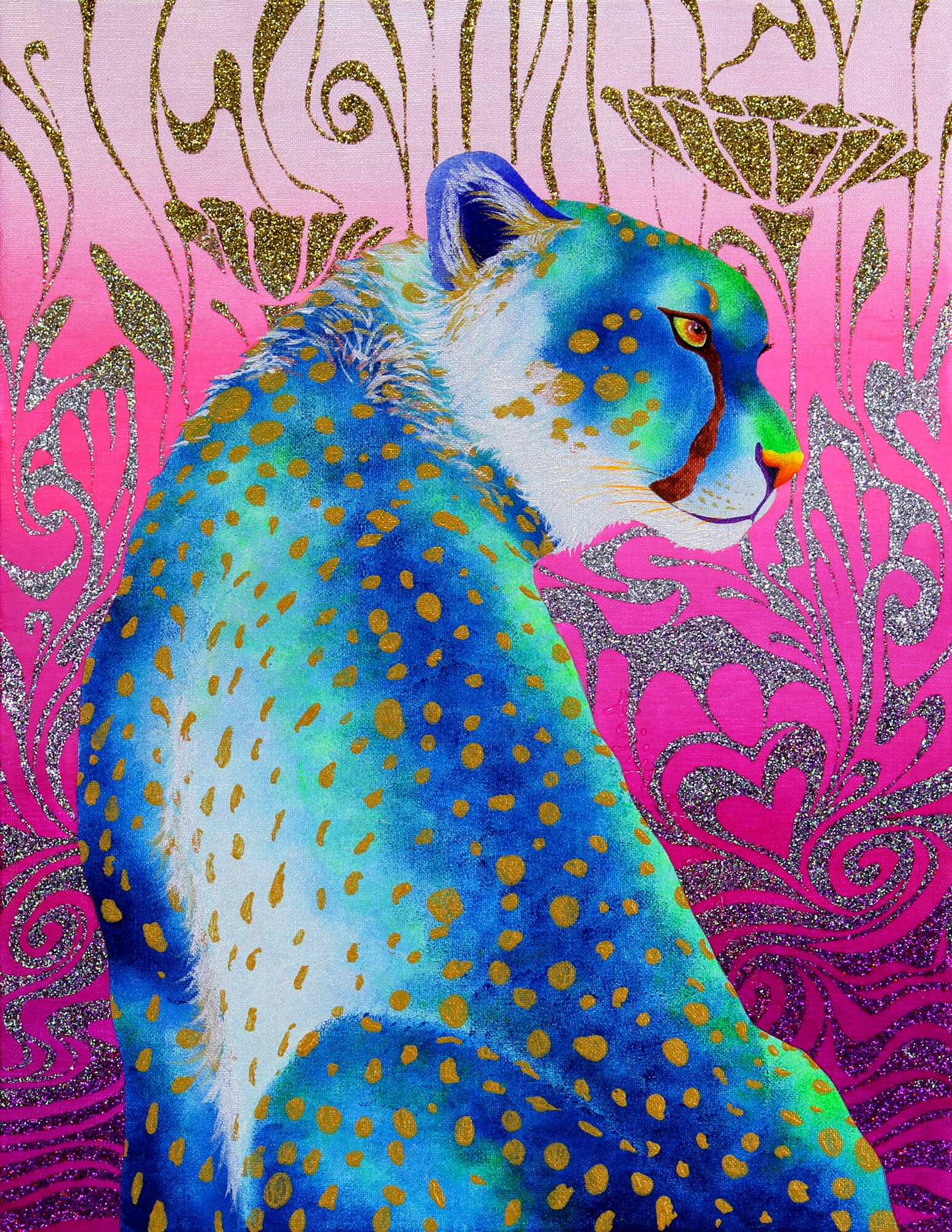 Blue Cheetah and illusion改行 Acrylic and glitter on canvas,410×318mm, 2016