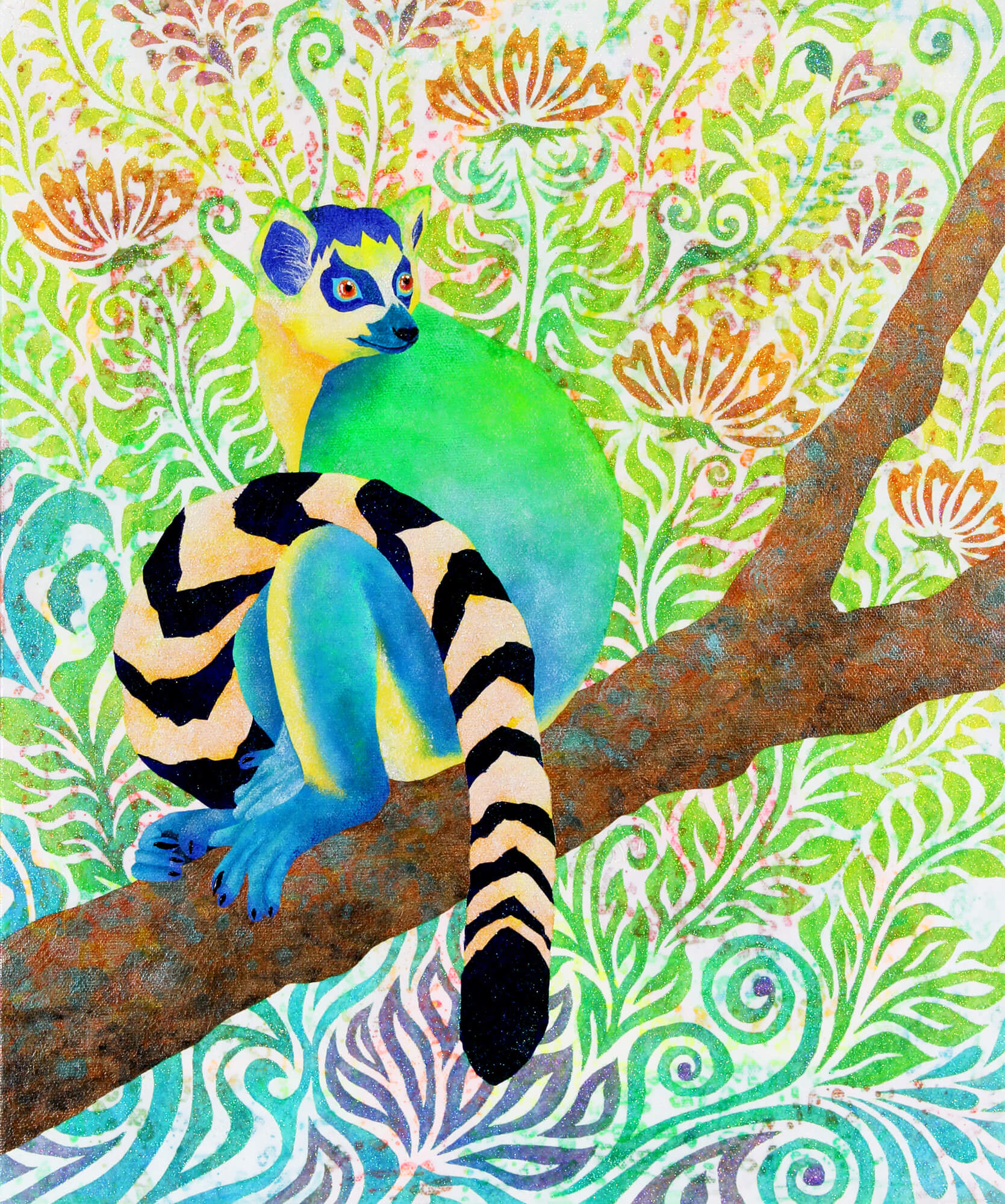 Blue Ring - tailed Lemur改行 Acrylic and glitter on canvas,455×380mm, 2017