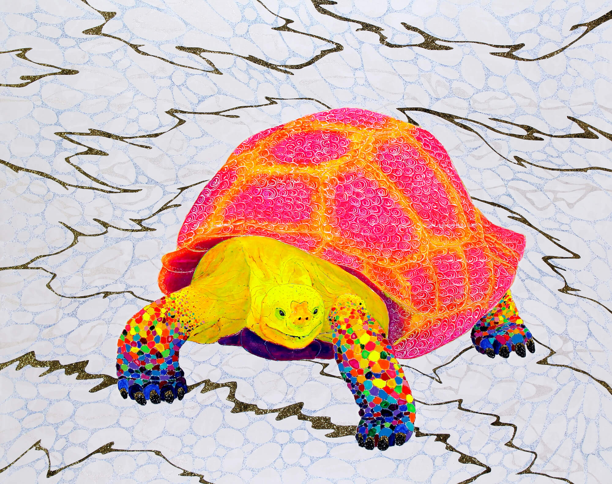 Momoirodori Tortoise-KASUMI改行 Acrylic and glitter on canvas,910×727mm, 2016