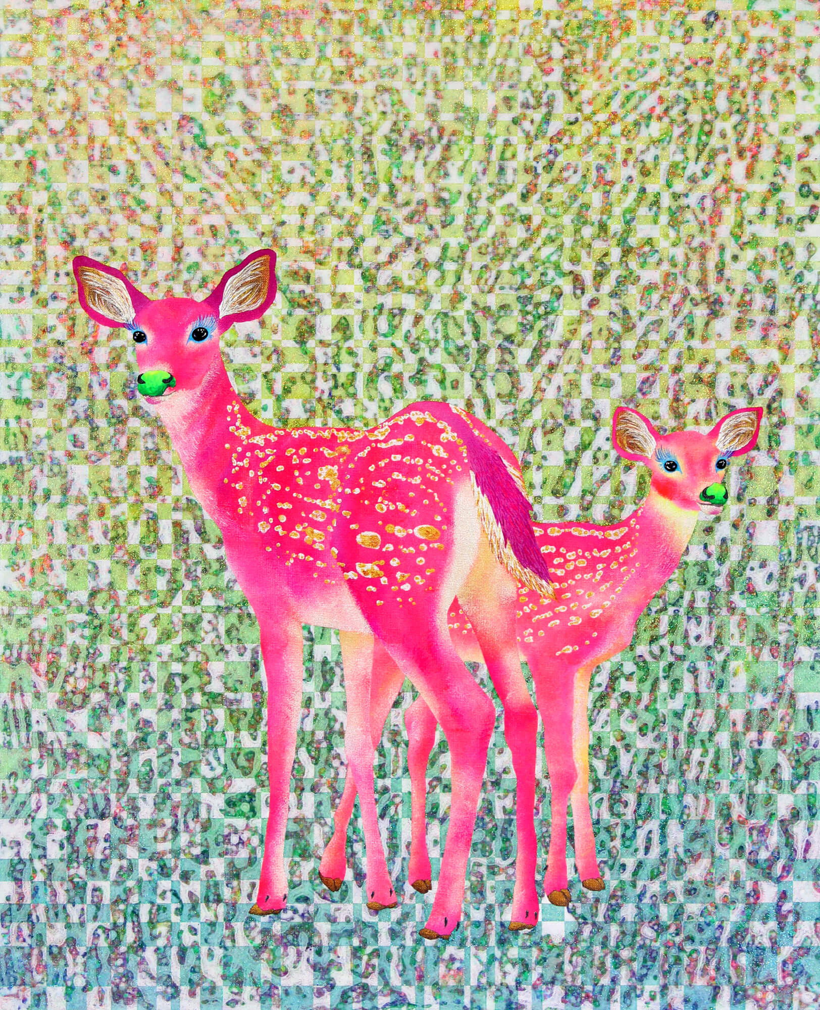 Two Pink Bambis改行 Acrylic and glitter on canvas,652×530mm, 2018
